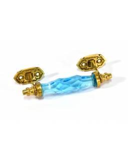 Skleněná úchytka na šuplík, kovové zdobení, modrá, 14x5cm