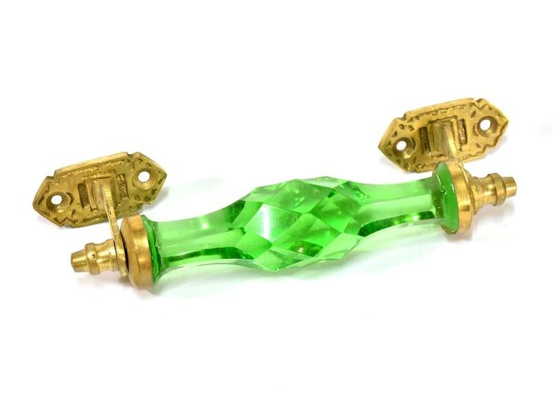 Skleněná úchytka na šuplík, kovové zdobení, zelená, 17x6cm