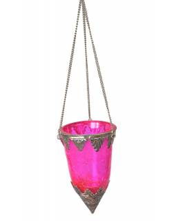 Závěsný skleněný svícen, růžová, kovové zdobení, 8x14cm