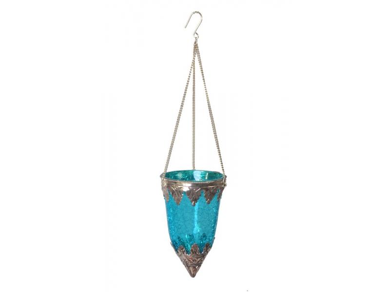 Závěsný skleněný svícen, tyrkysová, kovoé zdobení, 8x14cm