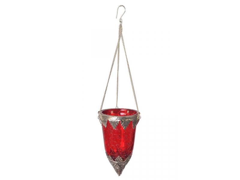 Závěsný skleněný svícen, červená, kovové zdobení, 8x14cm