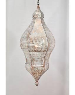 Mosazná lampa v arabském stylu, bílá patina, uvnitř bílá, 100cm