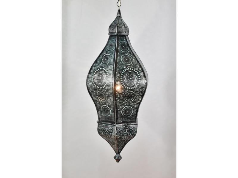 Mosazná lampa v arabském stylu, černá patina, uvnitř tyrkysová, 100cm