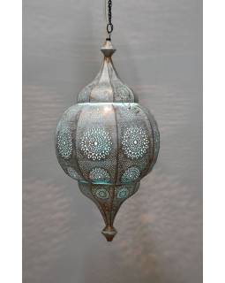 Mosazná lampa v arabském stylu, bílá patina, uvnitř tyrkysová, 70cm
