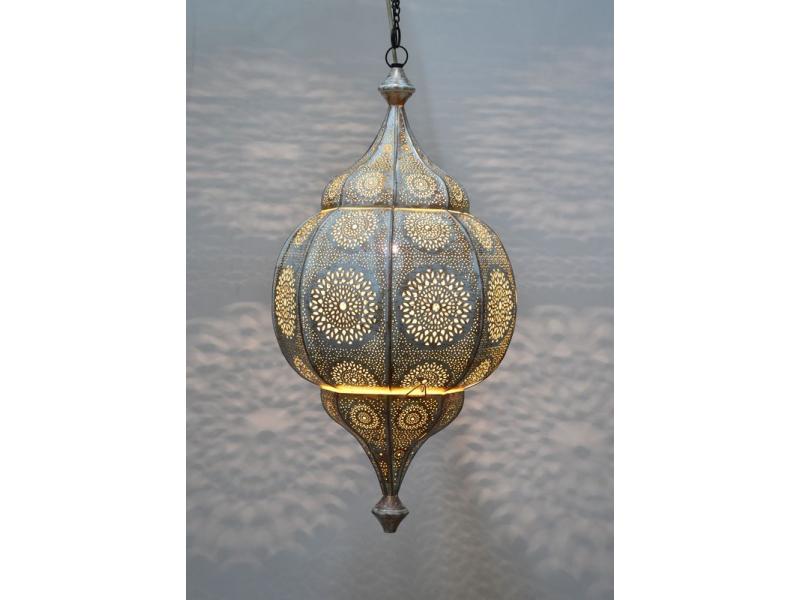 Mosazná lampa v arabském stylu, bílá patina, uvnitř žlutá, 70cm