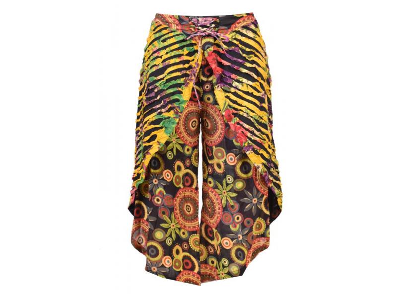 """Dlouhé žluté turecké kalhoty se sukní """"Patchwork design"""", elastický pas"""