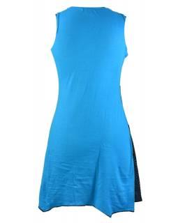 Tyrkysovo-černé šaty s cípy bez rukávu, mix print a barevné lemy