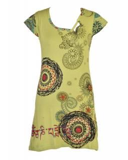 Zelené šaty s krátkým rukávem a potiskem mandal, výšivka