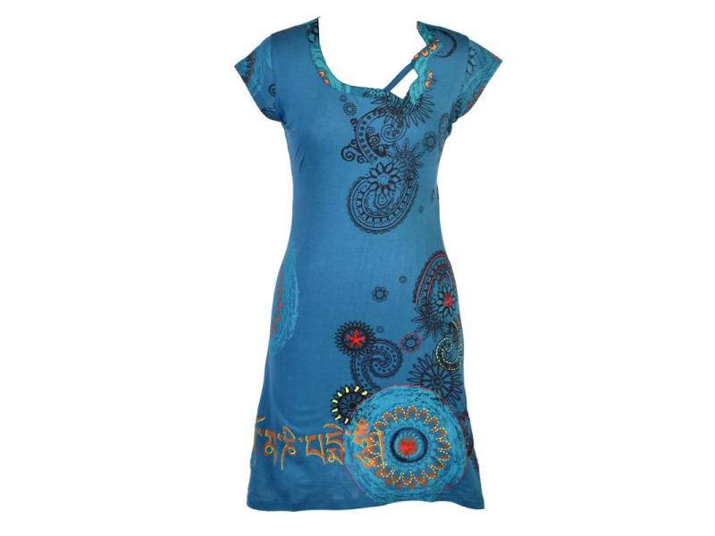 Petrolejové šaty s krátkým rukávem a potiskem mandal, výšivka