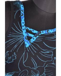 Černo-tyrkysové šaty bez rukávu, barevný potisk a výšivka mandala