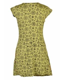 Zelené šaty s krátkým rukávem a celopotiskem mandal, sklady na boku, výšivka