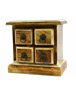 Malá dřevěná skříňka se 4 šuplíčky, kovové úchyty, 22x15x21cm
