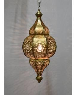 Lampa v orientálním stylu s jemným vzorem, zlatá, uvnitř žlutá, 25x25x50cm