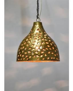 Mosazná lampa v orientálním stylu s jemným tepaným vzorem, ruční práce, 26x26cm