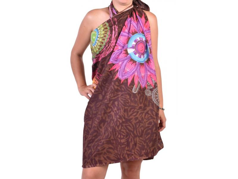 Bavlněný sárong s barevným potiskem, cca 120x170 cm