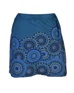 Krátká petrolejová sukně s potiskem mandal, pružný pas