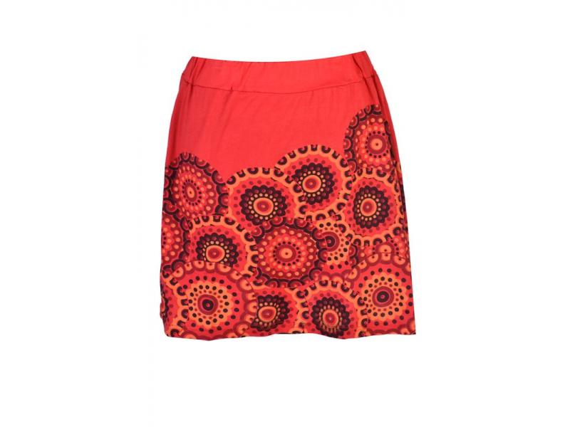 Krátká červená sukně s potiskem mandal, pružný pas