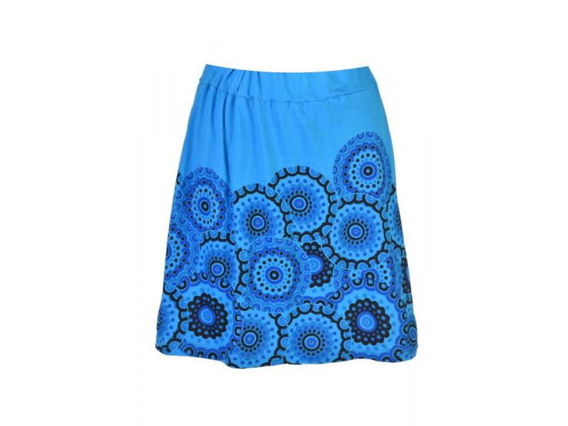 Krátká tyrkysová sukně s potiskem mandal, pružný pas