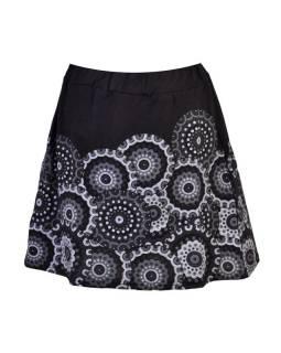 Krátká černá sukně s potiskem mandal, pružný pas
