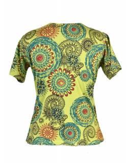Zelené tričko s krátkým rukávem a mandala potiskem