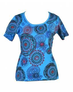 Tyrkysové tričko s krátkým rukávem a mandala potiskem