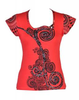 Červené tričko s krátkým rukávem a atypickým výstřihem, Spiral design