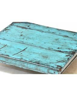 Čajový stolek z antik teakového dřeva, tyrkysová patina, 49x49x14cm