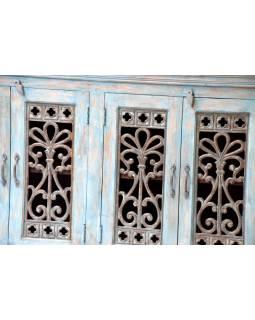 Komoda z antik teakového dřeva, tyrkysová patina, 160x40x93cm