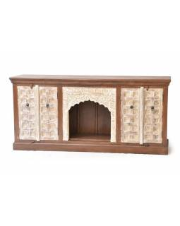 Komoda z antik teakového dřeva, bílá patina, 178x45x83cm