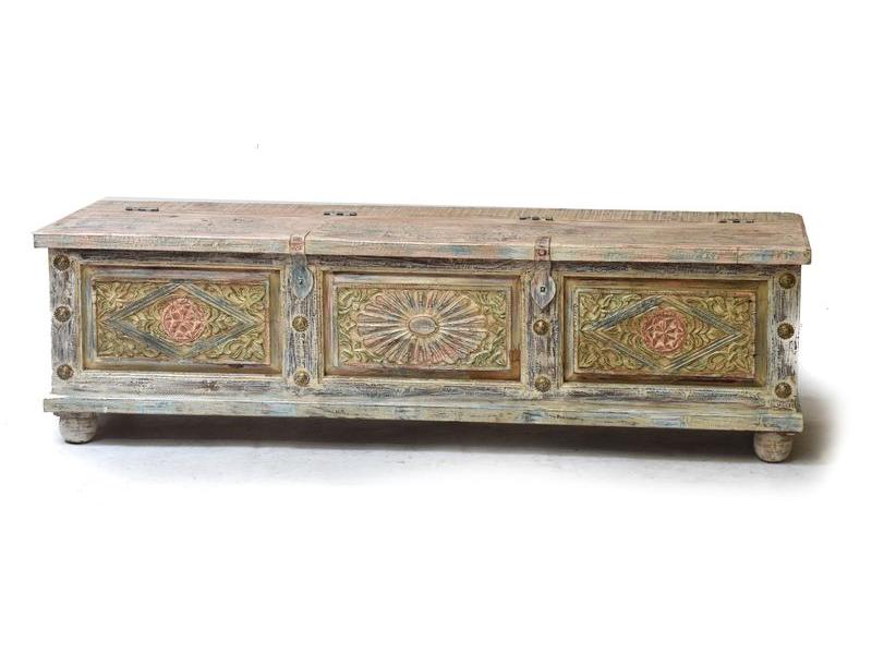 Stará dřevěná truhla z teakového dřeva, 169x48x50cm