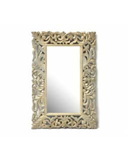 Zrcadlo ve vyřezávaném rámu, antik patina, mango, 60x90x3cm