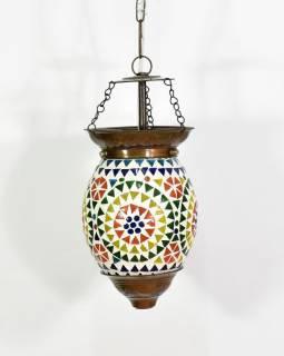 Skleněná mozaiková lampa, ruční práce, barevná, 21x13cm
