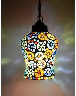 Skleněná mozaiková lampa, ruční práce, barevná, 20x13cm
