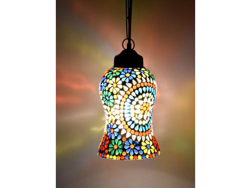 Skleněná mozaiková lampa, ruční práce, barevná, 20x12cm