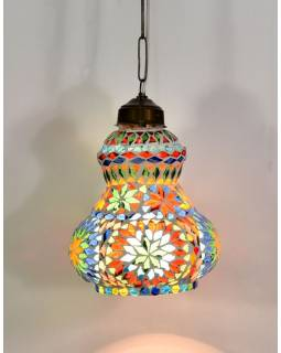Skleněná mozaiková lampa, ruční práce, barevná, 19,5x14,5cm