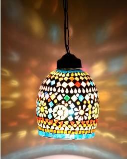 Skleněná mozaiková lampa, ruční práce, barevná, 18x14cm