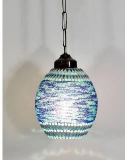 Skleněná mozaiková lampa, ruční práce, korálky, 22x17cm