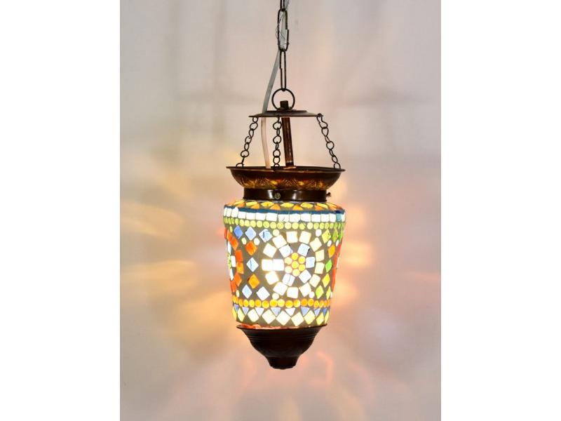Skleněná mozaiková lampa, ruční práce, barevná, 21x11cm