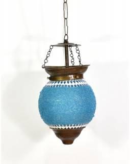 Skleněná mozaiková lampa, ruční práce, korálky, 21x15cm