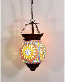 Skleněná mozaiková lampa, ruční práce, barevná, 21x15cm