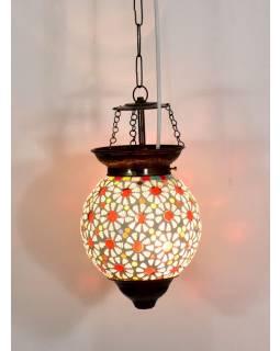 Skleněná mozaiková lampa, ruční práce, barevná, 23x17cm