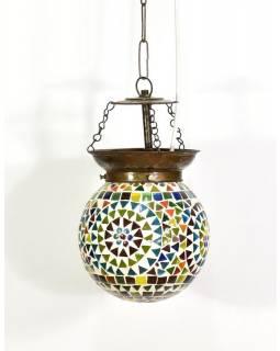 Skleněná mozaiková lampa, ruční práce, barevná, 17x15cm
