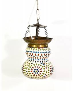 Skleněná mozaiková lampa, ruční práce, barevná, 17x13cm