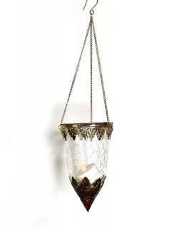 Závěsný skleněný svícen, průhledná, kovové zdobení, 8x14cm