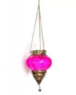 Závěsný skleněný svícen, růžová, kovové zdobení, 9x11cm