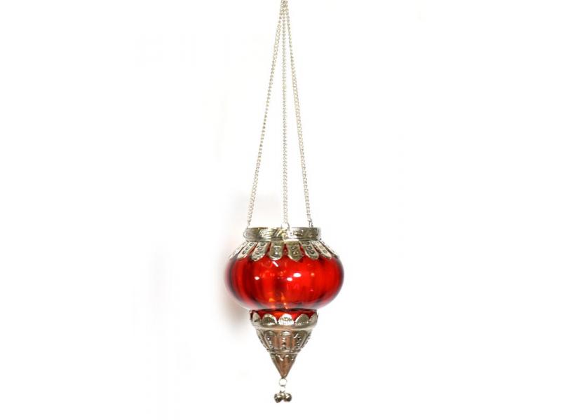 Závěsný skleněný svícen, vínová, kovové zdobení, 9x11cm