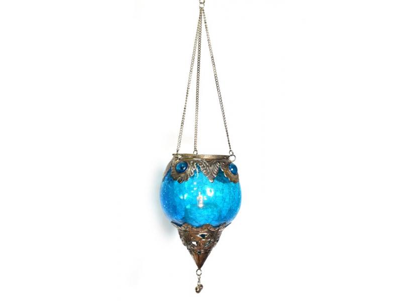 Závěsný skleněný svícen, tyrkysová, kovové zdobení, 12x9cm
