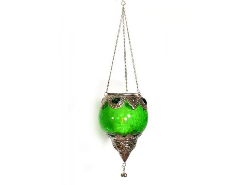 Závěsný skleněný svícen, zelený, kovové zdobení, 12x9cm