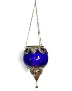 Závěsný skleněný svícen, modrá, kovové zdobení, 12x9cm