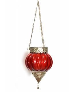 Závěsný skleněný svícen, vínový, kovové zdobení, 16x12cm